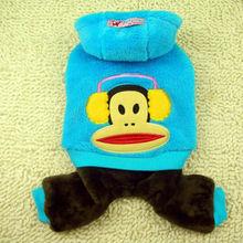 Pet clothes monkey Four feet sweat DOG COAT JACKET Warm winter cotton Blue