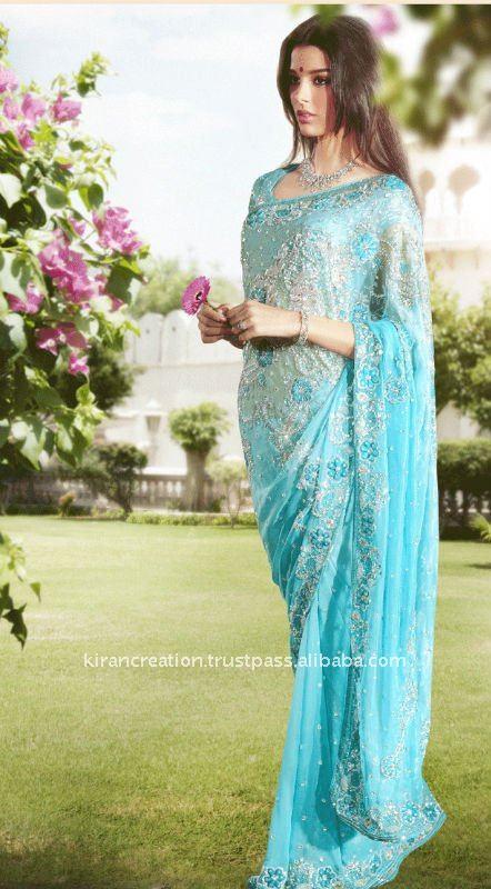 la luz azul de diseño sari de novia para