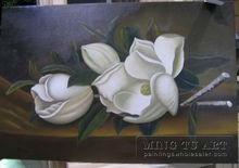 Handmade Magnolia Flower Oil Painting