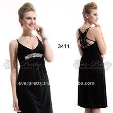 Sexy V-neck Black Rhinestones Stretchy Short Cocktail Dress 03411BK