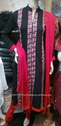 Lastest Black and PInk Embroidered Long Indian Dress