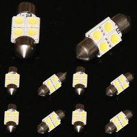 100X Festoon 31mm Dome/Door/Map 4 5050 LED Car Panel Light Lamp Bulb WHITE DC12V