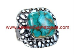 KRJ277271-0 silver bronze vein blue arizona turquoise jewelry