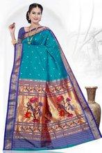 Double pallu Kaundi Paithani silk saree
