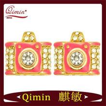 Gold-plated Rhinestone Camera fashion Earrings