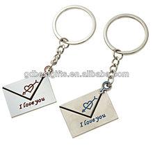 engraving enamel metal couple key chain