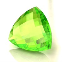 Trillion Cut Synthetic Peridot Faceted Gemstone Briolettes -Available in all Cuts,Shapes,Sizes, Peridot Lab Created Color Stones