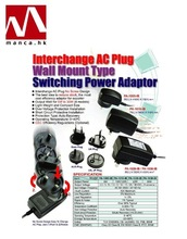 Interchangeable AC Plug Switching Power Supplies