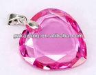 KY-CZ73 Exquisite luminous Fuschia Heart Shaped Crystal CZ pendant jewelry