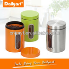 round metal colorful kitchen green canister set