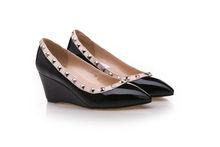 office lady sexy cuneo borchie scarpe di marca famosa cunei nero