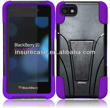 Newest Fasion kickstand PC+Silicon combo case for Blackberry Z10