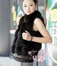 2013 New Real Fox Fur Side Pockets Zipper Vest Coffee HN10122716-5