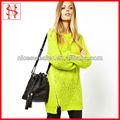 de moda para mujer ropa de limón verde lateral de la cremallera suéter de lana dresse