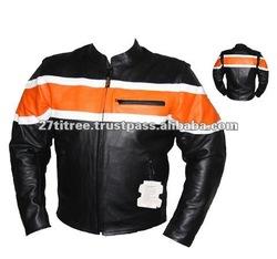 New Orange Black Motorbike Motorcycle Leather Jackets