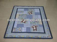 Cute monkey 100% cotton kids quilt/comforter sets for kids 3 pcs