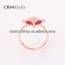 Bead Fox Ring Fashion Pearl Jewelry Ruby Eye Fox Statement Jewelry Animal Ring