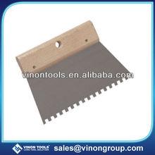Professional Steel Notch Scraper with wood handle, Adhesive Spreader, Grout Trowel, Adhesive Scraper