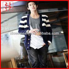 Fashion men v neck striped cardigan coat men korean slim fit
