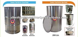 S.Steel Barrels & Buckets for Food Pharma Industry