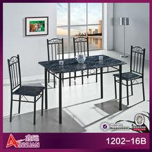 Hot sale black metal frame mdf top dinning discount dining furniture sets