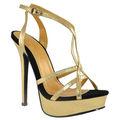Completo oro zapatos de plataforma para la señora, Amarillo zapatos de plataforma, Barato zapatos de plataforma