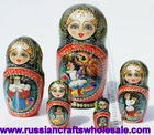 Matrioshka Big and True Nice Made Wood Hand Painted Matryoshka with Ethnic Ornament Russian Crafts Folk Art Wholesale, Russia
