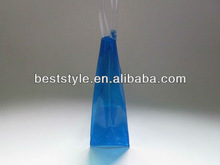 Blue PVC tote handle bag with snap closure
