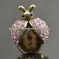 New design vintage pink crystal ladybug ring