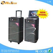 hot sale classic portable trolley battery active speaker box withUSB/SD/DC/FM/DVD/Portable/With rechargeable battery