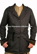 Ladies Wool Long Coat with Poly Fur