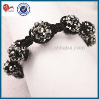 black acrylic bracelet rhinestone 10mm round bead