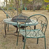 power coated metal barbeque round slate fire pit table fireplace set,charcoal BBQ grill