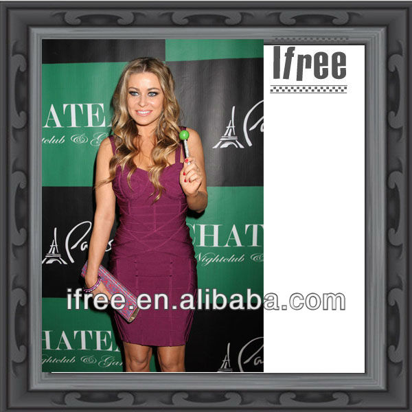 celebrity design purple bandage dress sleeveless knee-length dress