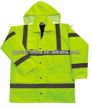 FDA CE High visibility warning clothing/coat/jacket ( fluorescence) for bad weather In the winter Senior PVC reflective strips