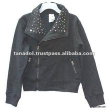 New Coats jacket fashion black full zip front closure for girls 2012