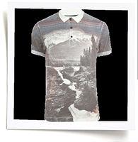 2013 fashion style polo shirt for men grey landscape print free sample mens polo shirt