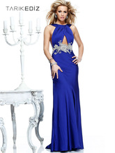 New Arrival 2013 Sexy Open Back Beaded Royal Blue Evening Dress