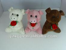 plush valentines toys/valentines pig toys/colorful stuffed plush pig toys