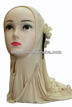 Classic Beige Hijab Scarf With A Single Flower
