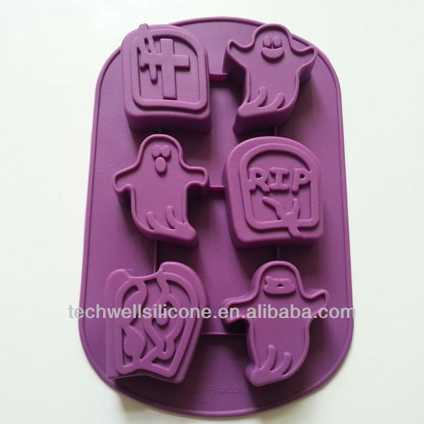 2013 new model, hot selling silicone goast shaped ice cube tray