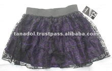 Children's girls fashion skirt lace over satin look fabric 2012