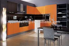 Modern Kitchen Cabinets Design,Yellow Kitchen Furniture with Quartz Counter Top