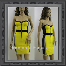 Wholesale Yellow Crystal Rayon and Spandex Celebrity Dress