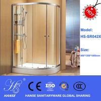 HS-SR042X corner sliding door curved glass free standing shower room