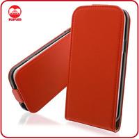 High Quality Elegant Red Premium Real Genuine Leather Flip Case for Samsung S4 Mini