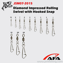 Diamond Impressed Rolling swivel with Hooked Snap