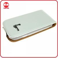 Deluxe White Premium Genuine Leather Flip Case for Samsung Galaxy S3 Mini I8190