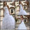 DW250 A-line Floor Length Sweetheart Pleat Brush Train Organza Designer Wedding Dress