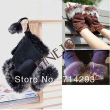 New Women's Rabbit Fur Hand Wrist Fingerless Warm Winter Gloves 3379
